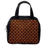 SCALES3 BLACK MARBLE & RUSTED METAL Classic Handbags (One Side)