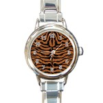 SKIN2 BLACK MARBLE & RUSTED METAL Round Italian Charm Watch