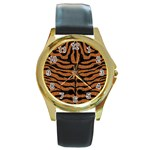 SKIN2 BLACK MARBLE & RUSTED METAL Round Gold Metal Watch