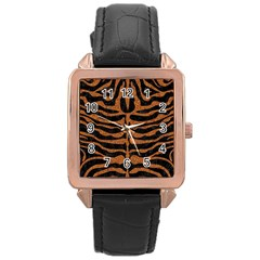Skin2 Black Marble & Rusted Metal (r) Rose Gold Leather Watch  by trendistuff