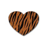 SKIN3 BLACK MARBLE & RUSTED METAL Rubber Coaster (Heart)