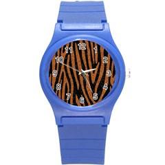 Skin4 Black Marble & Rusted Metal Round Plastic Sport Watch (s) by trendistuff