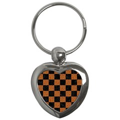 Square1 Black Marble & Rusted Metal Key Chains (heart)  by trendistuff