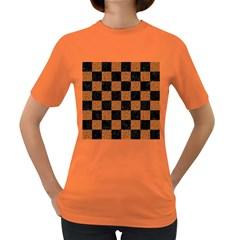 Square1 Black Marble & Rusted Metal Women s Dark T Shirt by trendistuff