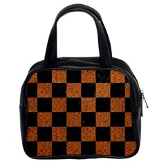 Square1 Black Marble & Rusted Metal Classic Handbags (2 Sides) by trendistuff