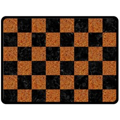 Square1 Black Marble & Rusted Metal Double Sided Fleece Blanket (large)  by trendistuff