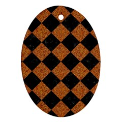 Square2 Black Marble & Rusted Metal Ornament (oval) by trendistuff