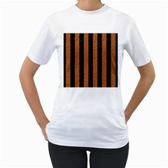 Stripes1 Black Marble & Rusted Metal Women s T Shirt (white) (two Sided) by trendistuff