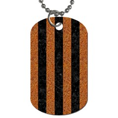 Stripes1 Black Marble & Rusted Metal Dog Tag (one Side) by trendistuff
