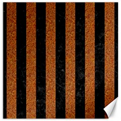 Stripes1 Black Marble & Rusted Metal Canvas 12  X 12   by trendistuff
