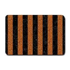 Stripes1 Black Marble & Rusted Metal Small Doormat  by trendistuff