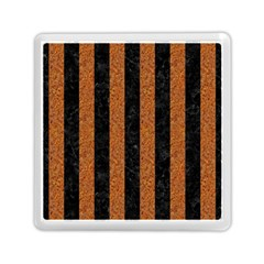 Stripes1 Black Marble & Rusted Metal Memory Card Reader (square)