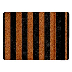 Stripes1 Black Marble & Rusted Metal Samsung Galaxy Tab Pro 12 2  Flip Case by trendistuff
