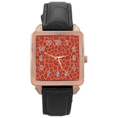 Autumn Animal Print 4 Rose Gold Leather Watch  by tarastyle