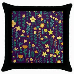 Cute Doodle Flowers 2 Throw Pillow Case (black) by tarastyle
