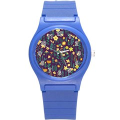 Cute Doodle Flowers 2 Round Plastic Sport Watch (s) by tarastyle