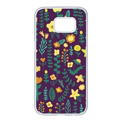 Cute Doodle Flowers 2 Samsung Galaxy S7 Edge White Seamless Case by tarastyle