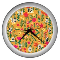 Cute Doodle Flowers 4 Wall Clocks (silver)  by tarastyle