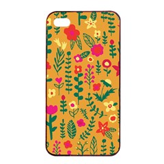 Cute Doodle Flowers 4 Apple Iphone 4/4s Seamless Case (black) by tarastyle