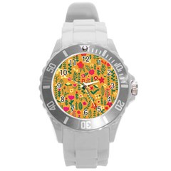 Cute Doodle Flowers 4 Round Plastic Sport Watch (l) by tarastyle