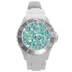 Cute Doodle Flowers 9 Round Plastic Sport Watch (l) by tarastyle