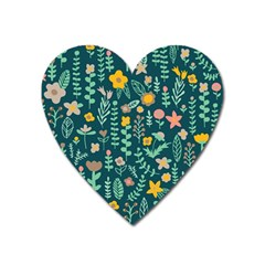 Cute Doodle Flowers 10 Heart Magnet by tarastyle