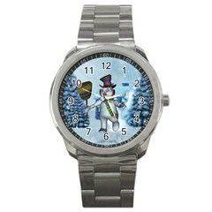 Funny Grimly Snowman In A Winter Landscape Sport Metal Watch by FantasyWorld7