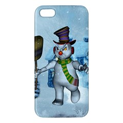 Funny Grimly Snowman In A Winter Landscape Apple Iphone 5 Premium Hardshell Case by FantasyWorld7