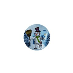 Funny Grimly Snowman In A Winter Landscape 1  Mini Magnets by FantasyWorld7