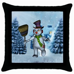 Funny Grimly Snowman In A Winter Landscape Throw Pillow Case (black) by FantasyWorld7