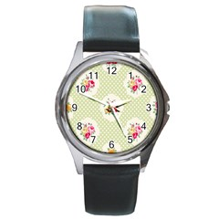 Green Shabby Chic Round Metal Watch by 8fugoso