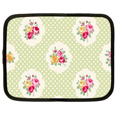 Green Shabby Chic Netbook Case (large) by 8fugoso