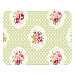 Green Shabby Chic Double Sided Flano Blanket (large)  by 8fugoso
