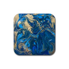 Ocean Blue Gold Marble Rubber Square Coaster (4 Pack)  by 8fugoso