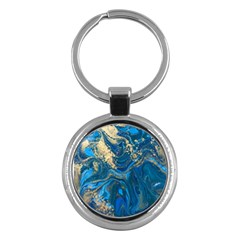 Ocean Blue Gold Marble Key Chains (round)  by 8fugoso