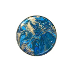 Ocean Blue Gold Marble Hat Clip Ball Marker by 8fugoso