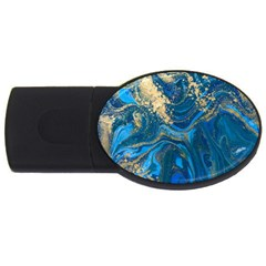 Ocean Blue Gold Marble Usb Flash Drive Oval (4 Gb) by 8fugoso