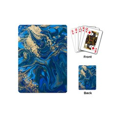Ocean Blue Gold Marble Playing Cards (mini)  by 8fugoso