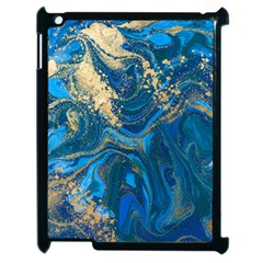 Ocean Blue Gold Marble Apple Ipad 2 Case (black) by 8fugoso