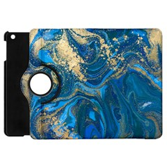 Ocean Blue Gold Marble Apple Ipad Mini Flip 360 Case by 8fugoso