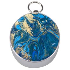 Ocean Blue Gold Marble Silver Compasses by 8fugoso
