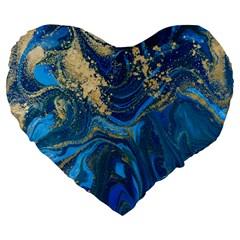 Ocean Blue Gold Marble Large 19  Premium Flano Heart Shape Cushions by 8fugoso