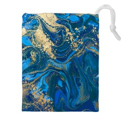 Ocean Blue Gold Marble Drawstring Pouches (xxl) by 8fugoso
