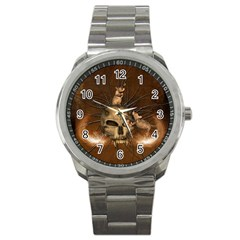 Awesome Skull With Rat On Vintage Background Sport Metal Watch by FantasyWorld7