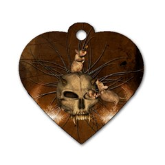 Awesome Skull With Rat On Vintage Background Dog Tag Heart (one Side) by FantasyWorld7