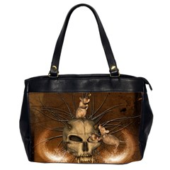 Awesome Skull With Rat On Vintage Background Office Handbags (2 Sides)  by FantasyWorld7