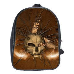 Awesome Skull With Rat On Vintage Background School Bag (xl) by FantasyWorld7