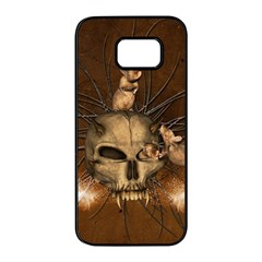 Awesome Skull With Rat On Vintage Background Samsung Galaxy S7 Edge Black Seamless Case by FantasyWorld7