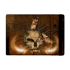 Awesome Skull With Rat On Vintage Background Apple Ipad Mini Flip Case by FantasyWorld7