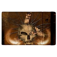 Awesome Skull With Rat On Vintage Background Apple Ipad Pro 9 7   Flip Case